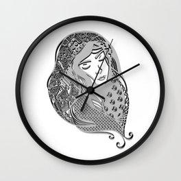 zentangle portrait 5 Wall Clock