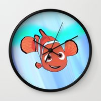 finding nemo Wall Clocks featuring Nemo by paulusjart