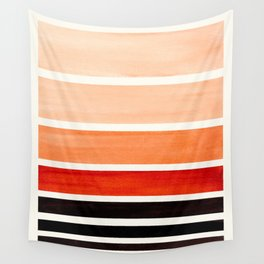 Brown Minimalist Watercolor Mid Century Staggered Stripes Rothko Color Block Geometric Art Wall Tapestry