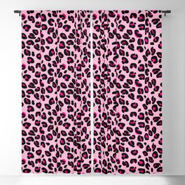 Cotton Candy Pink and Black Leopard Spots Animal Print Pattern Blackout Curtain