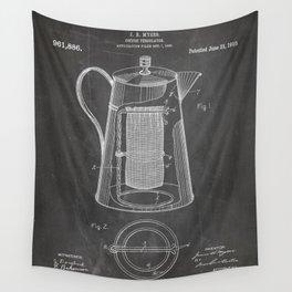 Coffee Percolator Patent - Coffee Shop Art - Black Chalkboard Wall Tapestry