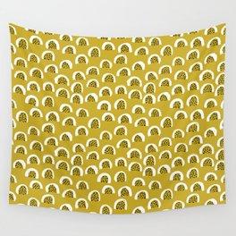 Sunny Melon love abstract brush paint strokes yellow ochre Wall Tapestry