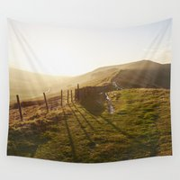 uk Wall Tapestries featuring Rushup Edge at sunset. Derbyshire, UK. by liamgrantfoto