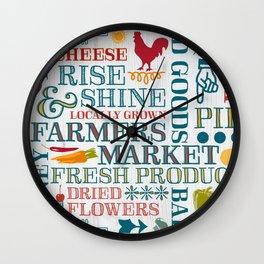 Farm Fresh Market Signage Wall Clock