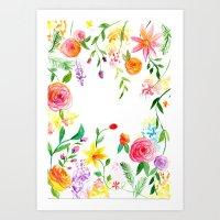 Watercolour Flowers Part 2 Art Print