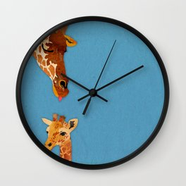 mom and baby giraffe Wall Clock