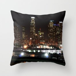 Bright Lights in the City of Angels. Throw Pillow