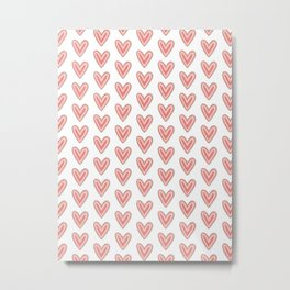 I Heart You in Pink and Coral Metal Print