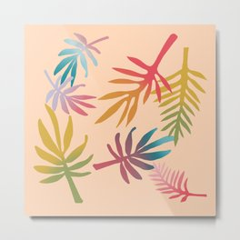Rainbow Palms Peach Background  Metal Print