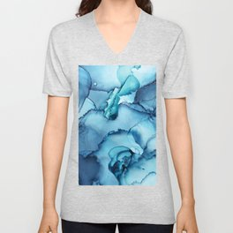 The Blue Abyss - Alcohol Ink Painting Unisex V-Neck