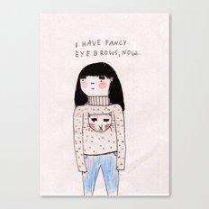 big shirt, big eyebrows Canvas Print