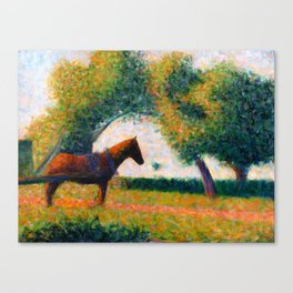 The Harnessed Horse Georges Seurat (1884) Oil Impressionist Painting Canvas Print