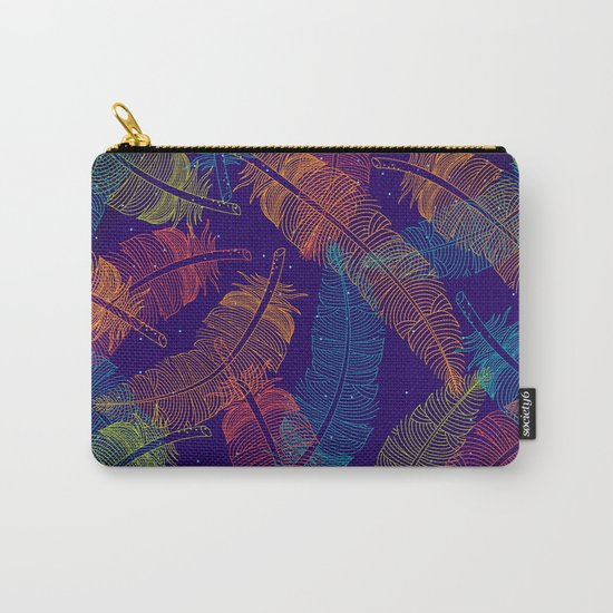Neon Feathers Carry-All Pouch