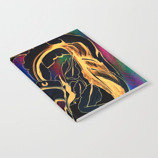 Blue Succulent Colorful Night, Black and Gold Rainbows Notebook