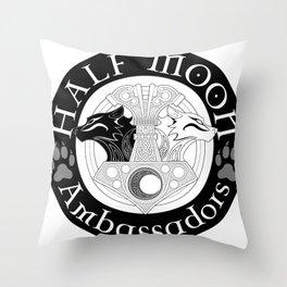 Half Moon mjolnir logo Throw Pillow