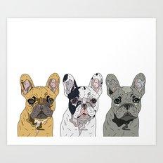 Triple Frenchies Art Print