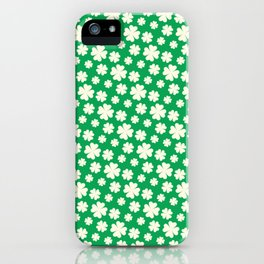 Off-White Four Leaf Clover Pattern with Green Background iPhone Case