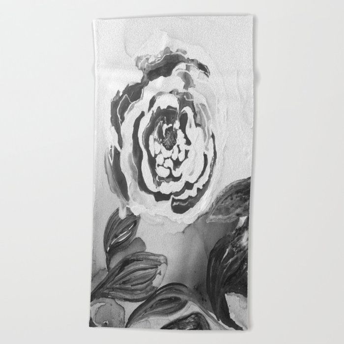 Mother's Day Roses Silver Year Black and White Beach Towel