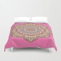 islam Duvet Covers featuring Pink Mandala by Mantra Mandala