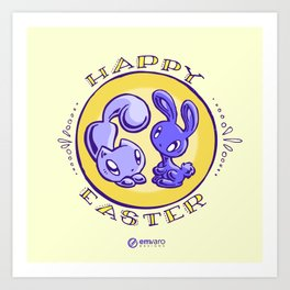 Skribbles + Floofles: Happy Easter Art Print