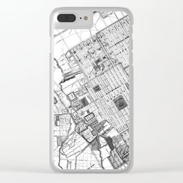 Vintage Map of San Jose California (1886) BW Clear iPhone Case
