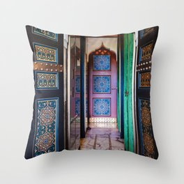 Moroccan painted doors and marble hallway in Marrakech, Morocco Throw Pillow