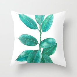 Ficus elastica Throw Pillow