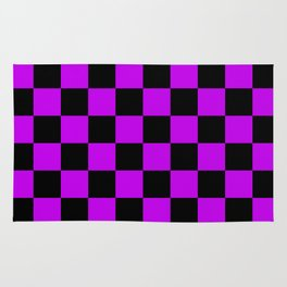 Black and Purple Checkerboard Pattern Rug