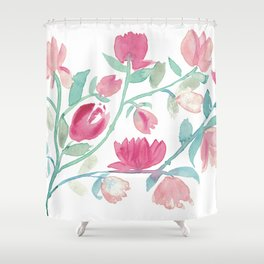 Lovely spring floral fantasty watercolor Shower Curtain
