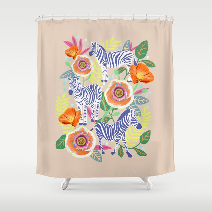 Zebra Idea Print Animal Flower 2 Shower Curtain By Uzualsunday