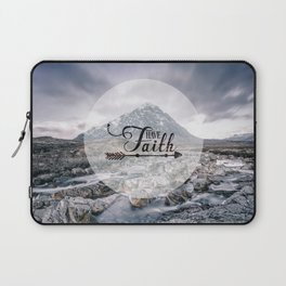 Have Faith Inspirational Typography Over Mountain Laptop Sleeve