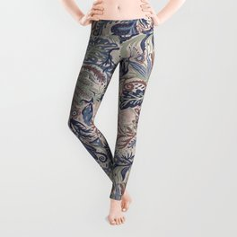 Muted Colors Flower Field, Soft Moss Green Leaves &  Intricate Petrol Blue Floral Blooms Pattern Leggings