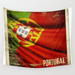 Portugal grunge sticker flag Wall Tapestry
