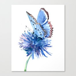 Blue Butterfly and Blue Flower, marine blue minimalist floral butterfly design Canvas Print