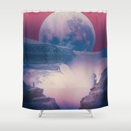 red sky with moon, Iceland Shower Curtain