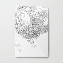 Singapore White Map Metal Print