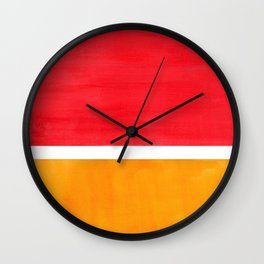 Colorful Bright Minimalist Rothko Color Field Midcentury Bright Red Yellow Squares Vintage Pop Art Wall Clock