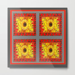 TEAL-RED ART & YELLOW SUNFLOWER CHARCOAL GREY DECO Metal Print