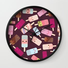 summer ice cream, ice lolly  Kawaii with pink cheeks and winking eyes Wall Clock