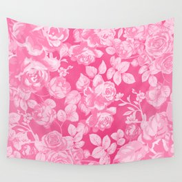 Romantic white pink abstract watercolor roses floral Wall Tapestry