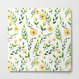 Modern hand painted yellow green watercolor spring flowers Metal Print