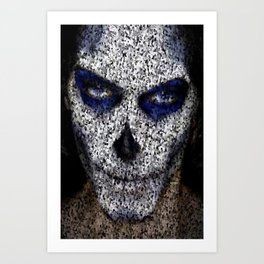 Skull In Black And White Art Print