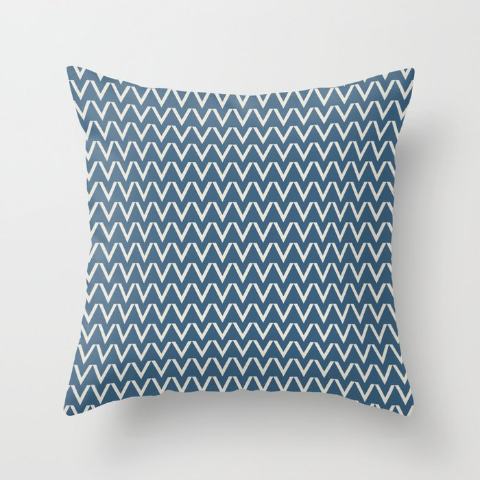 Linen White V Chevron Pattern on Blue Pair To 2020 Color of the Year Chinese Porcelain PPG1160-6 Throw Pillow