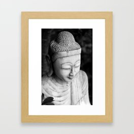 Black and White Buddha Statue Framed Art Print