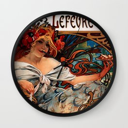 """Alphonse Mucha """"Biscuits Champagne-Lefèvre-Utile"""" Wall Clock"""