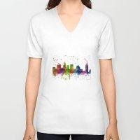atlanta V-neck T-shirts featuring Atlanta Skyline by Marlene Watson