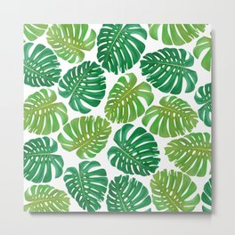 Monstera leaf pattern iPhone 4 4s 5 5c 6 7, pillow case, mugs and tshirt Metal Print