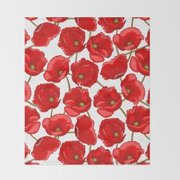 cute red poppies Throw Blanket