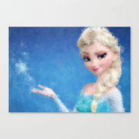 frozen elsa Canvas Prints featuring Elsa - Frozen by lauramaahs
