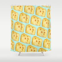 cheese Shower Curtains featuring Cheese Pattern by Kelly Gilleran
